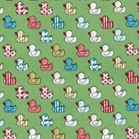 60% OFF Cotton Little Lime Green Duck Print Fabric x 0.5m