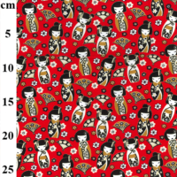 100% Cotton Red Japanese Doll Print Fabric x 0.5m