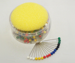 Coloured Headed Pin Box with Foam Top