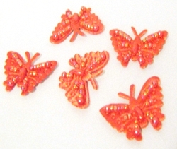 Pack of 5 Small Sew-on Beaded Butterfly Motifs in 4 Colours